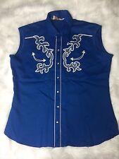 Vtg 70s H BAR C  Long Tail Ranchwear Embroidered Western Shirt 17 1/2 XL Blue