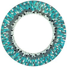 """Handcrafted Decorative Mosaic 24"""" Round Wall Mirror, Sky Blue and Forest Green"""