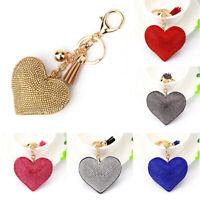 New Women Crystal Rhinestone Pendant Heart Shape Car Key Ring Keychain Ring Gift