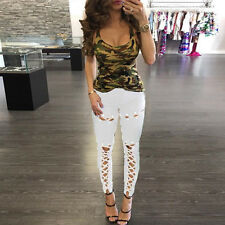 Women High Waist Jeggings Pants Trousers Stretch Plain Skinny Leggings Plus Size