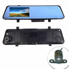 "HD 4.3"" 1080p Dual Lens Car Camera Video Recorder Dash Cam Rearview Mirror DVR"