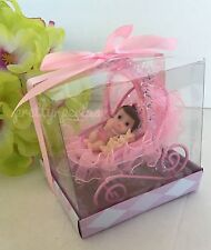 1PC Baby Shower Cake Topper Carriage Figurines Girl Pink Recuerdos Decorations