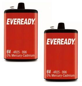 2 x Eveready 6V 4R25R PJ996 Heavy Duty Battery Mercury Cadmium Torch Lantern