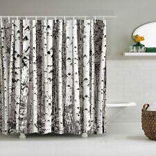 180x180cm White Birch Tree Shower Curtain Bathroom Waterproof Art Home Decor