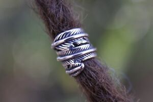 Set of2 Feather Dreadlock Bead 8mm Hole (5/16 Inch) Stainless Steel Dread Beads