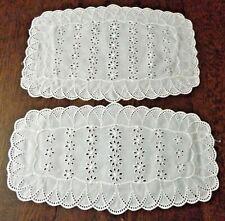 """2 Vintage White Cotton Eyelet Doilies 15"""" x 8""""  & 15"""" x 10"""""""