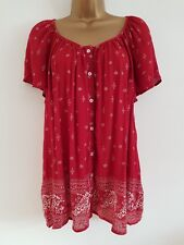 NEW Ex Ev-ns Plus Size 14-32 Paisley Print Red White Button Up Tunic Top Blouse