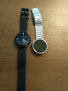 TWO Motorola Moto 360 1st Gen watches VGC please read - 1 leather 1 stainless