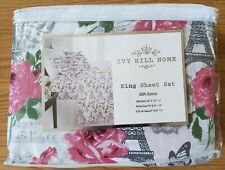 Ivy Hill Home Paris King Sheet Set ~ Eiffel Tower Roses Music ~ Red Gray Green
