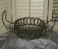 HTF 2-Layer Antique Vintage COLLAPSIBLE WIRE EGG BASKET French Country Farm