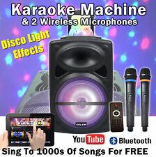 More details for vs portable bluetooth karaoke machine speaker 300w 2 wireless mics disco light