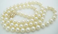 "VINTAGE  5.5 MM CULTURED PEARL 18 1/2"" NECKLACE 14 K GOLD CLASP OCEAN CULTURED"
