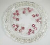 """Vintage Pink & Clear Floral Round Embossed & Etched 13"""" Serving Plate Tray"""