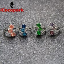 Gold fill Ring Valentine's Christmas Gift 106 Size 5 6 7 Morganite Emerald Topaz