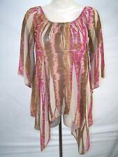 Rave Beige Pink Purple Brown Sheer 3/4 Sleeve Top Juniors Size Large 11 13