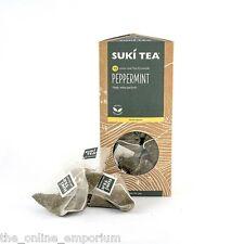 2 PACKS OF 15 SUKI PEPPERMINT TAG PYRAMID TEA BAGS - AWARD WINNING CAFFEINE FREE