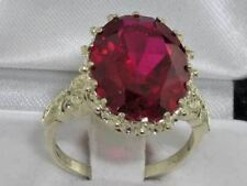 Luxury Solid Sterling Silver Large 16x12mm Oval 12ct Synthetic Ruby Ring