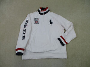 Ralph Lauren Polo Sweater Adult Extra Large White Big Pony USA Olympics Mens *