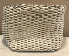 Large Cotton Rope Woven Bin Basket White Ivory Grey 16x12x14