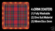 4  x  SCOTTISH TARTAN - CLAN - STEWART ROYAL - DRINK COASTERS - Re-usable