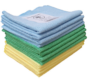 Microfibre Cloths - 12 pack - blue yellow green