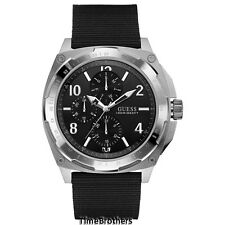 NEW GUESS WATCH for Men * Multi-Function * Black Fabric Canvas Strap * U0680G1