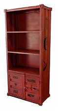 Libreria container industriale scaffale vintage in metallo rosso