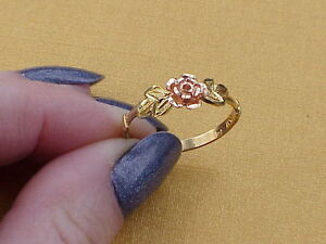 10K Solid Bi-Color Two Tone Gold Pink Rose Ring Band Diamond Cut Flower