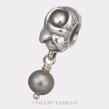 Authentic Pandora Sterling Silver Dangle My Wish Gray Pearl Bead 790497GP