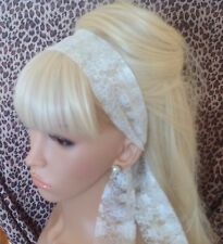 CREAM FLORAL LACE VINTAGE SCARF STYLE 50s 60'S 80'S HEAD HAIR BAND SELF TIE BOW