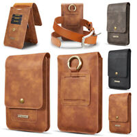 Men's Vertical PU Leather Pouch Belt Clip Holster Waist Bag Cover Case For Phone