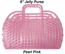 "NEW Vintage Retro PINK 9"" (1980's) JELLY Plastic Purse Handbag (US Made)"