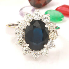 4.66 Natural Sapphire 14K Solid White Gold Diamond Ring