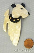 Lea Stein Paris Ric Airedale Terrier Dog Pin pearly white satin pattern