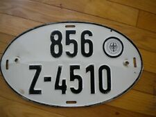 VINTAGE German Oval License Plate 856 Z - 4510 BUNDESFINANZVERWALTUNG