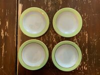 Vintage Pyrex Lime Green With Gold Trim 6.75 Inch Dessert Plate Set Of 4 CC
