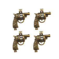 4pcs Jewelry Alloy Hollow Revolver Gun Bronze Locket Pendants Chamrs Inner 8mm