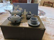 Wedgwood Bone China Mini Ornamental Tea Set Blue Cameo Christmas Retro Collector