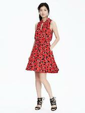 BANANA REPUBLIC PRINT TIE-NECK DRESS-RED GLOW NWT $128 SZ XL TALL