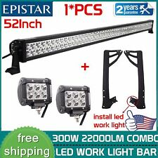 52inch 300W+ 2X 18W Spot LED Lights Bar+ Mount Brackets For Jeep JK Wrangler New