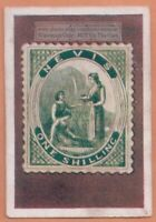 1930s Trade Ad Card - 1861 Nevis 1 Shilling Postage Stamp