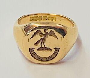 """Superb 18ct Yellow Gold Bird Intaglio Seal Ring"" Heavy 11.1g"