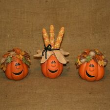 Set Of 3 Comical Pumpkins With Corn Leaves Acorn Blossom Bucket Figurine