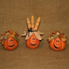 Set Of 3 Comical Pumpkins With Corn Leaves Acorn Blossom Bucket Figurine