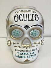 "Oculto Skull Head Tip Jar Acrylic Tequila Barrel Staves New & F/S Please Read 9"""