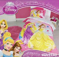 Disney Princess Quilt Doona Duvet Cover Set Girls Bedding Kids Belle Cinderella