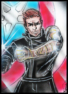 Marvel Avengers Bucky WINTER SOLDIER  Sketch Card Painting by Bianca Thompson