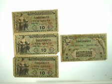 (4) U.S MILITARY PAYMENT CERTIFICATES SERIES 481 - 10 CENTS & $1 ONE DOLLAR