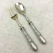 Antique French Silver Serving Spoon Fork 800 Hallmarked Handle Art Nouveau