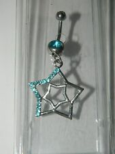 Belly Navel Ring Body Jewelry* New Nwt Morbid Metals Silver Aqua Blue Star